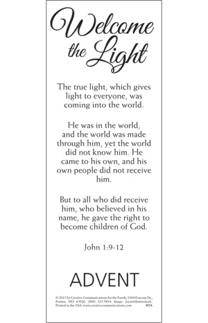 Welcome The Light Advent Bookmark - Jpg file