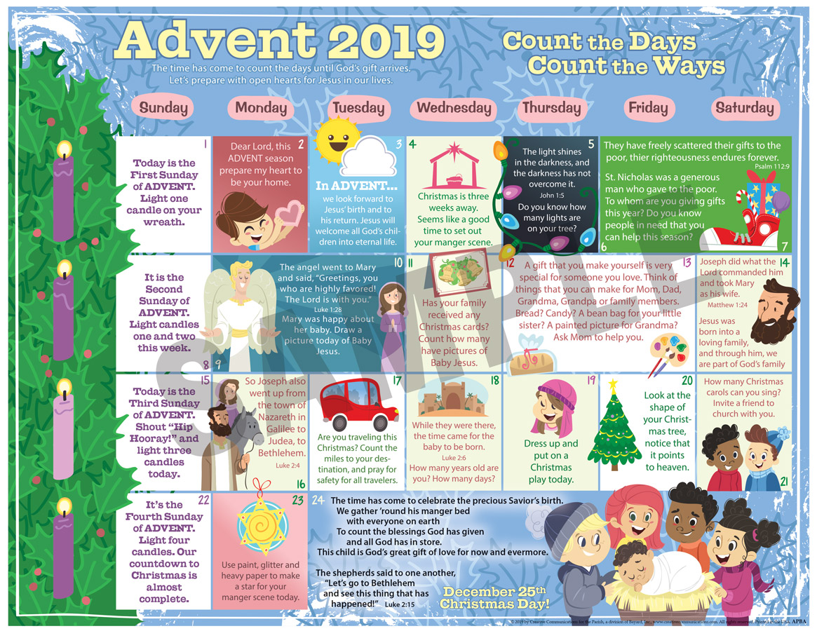 2019 ADVENT CHILDREN'S CALENDAR - PROTESTANT - Jpg file