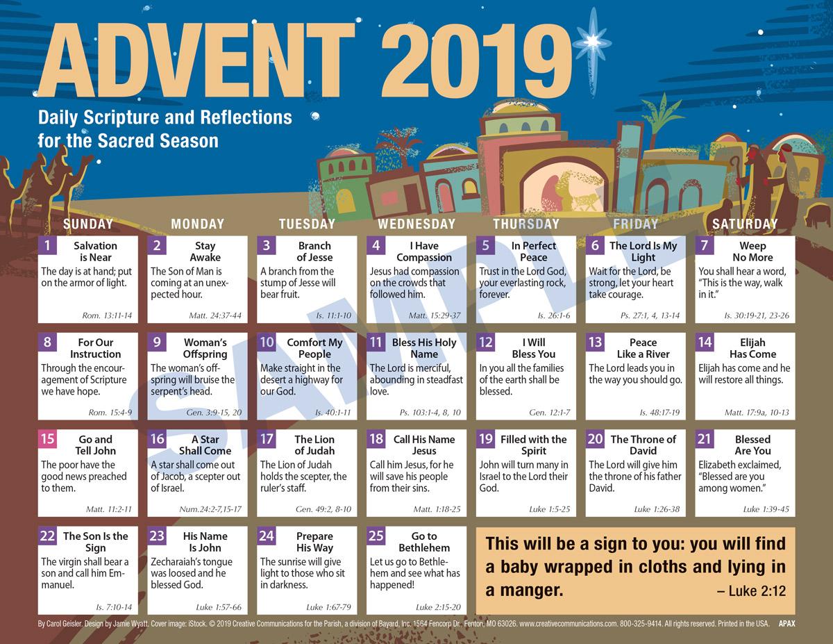 2019 adult advent calendar protestant product goods carol. Black Bedroom Furniture Sets. Home Design Ideas