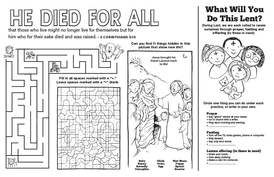 He Died for All: Lenten Placemat - Jpg file