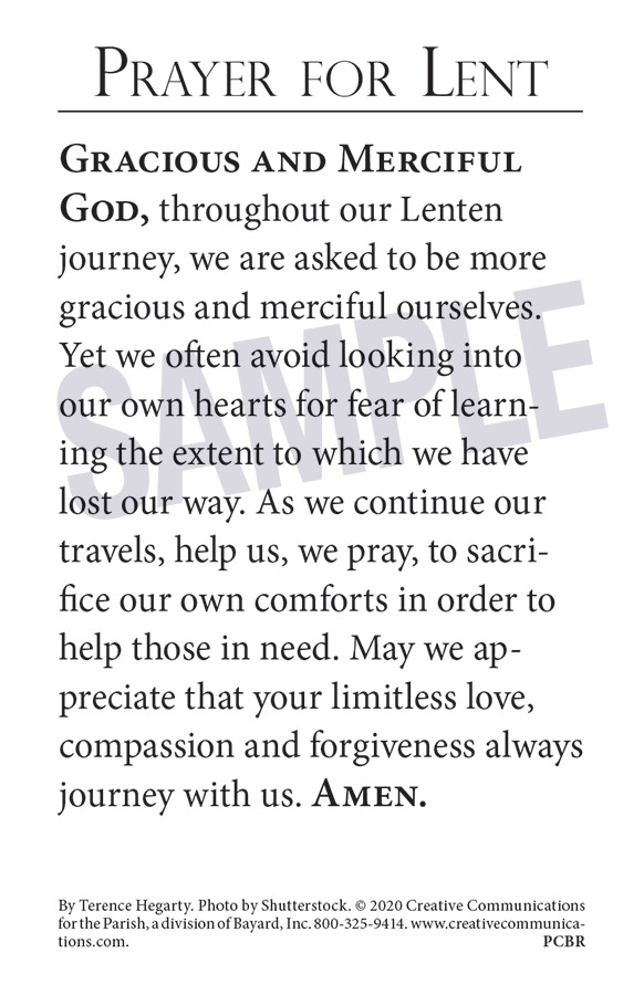 Lenten Prayer Card - Jpg file