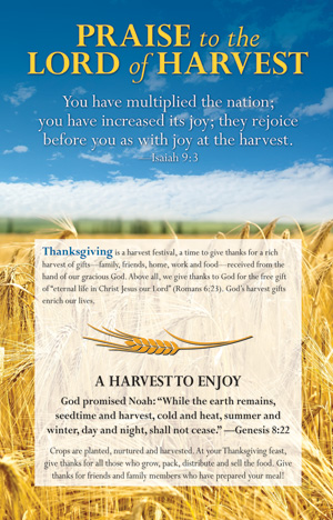 Praise To The Lord Of Harvest Thanksgiving Insert